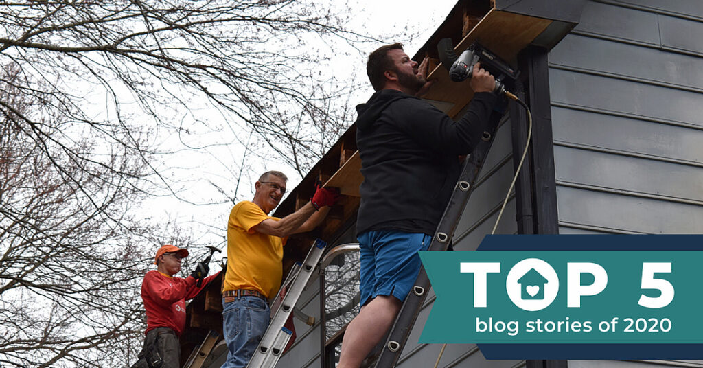 top 5 blog posts of the year award over a photo of people drilling exterior home siding