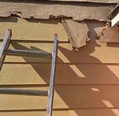 rotting siding of house close up